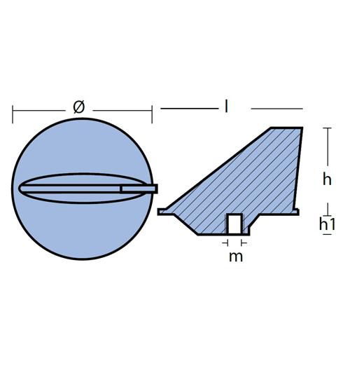 Tecnoseal Finnenanode für Mercury ab 35 PS und MerCruiser Alpha One, Magnesium