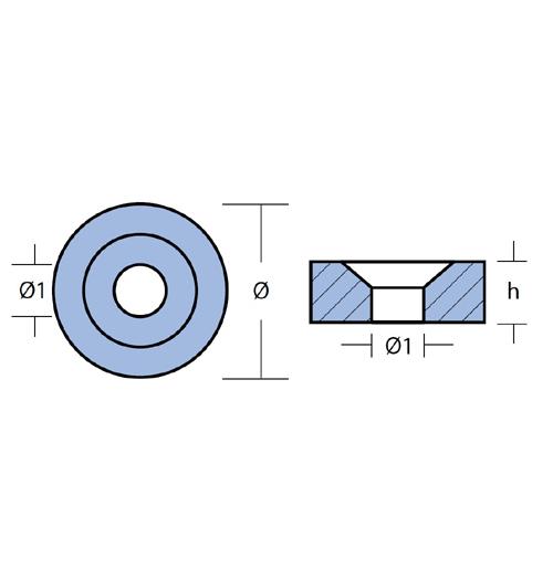 Tecnoseal Ringanode für diverse Mercury/Mariner 2 - 30 PS, Aluminium