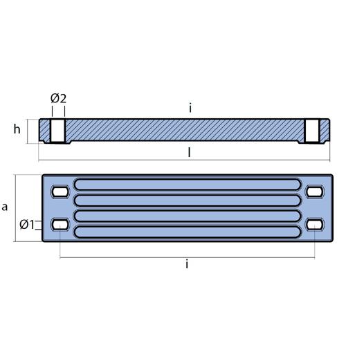 Tecnoseal Balkenanode für Yamaha F200 - F350, Magnesium