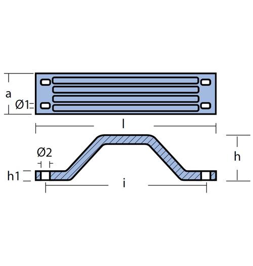 Tecnoseal Balkenanode für Yamaha 115 - 350 PS, Magnesium