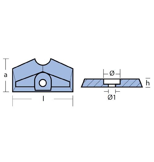 Tecnoseal Balkenanode für diverse Yamaha 2 - 5 PS, F2,5 - F6, Zink