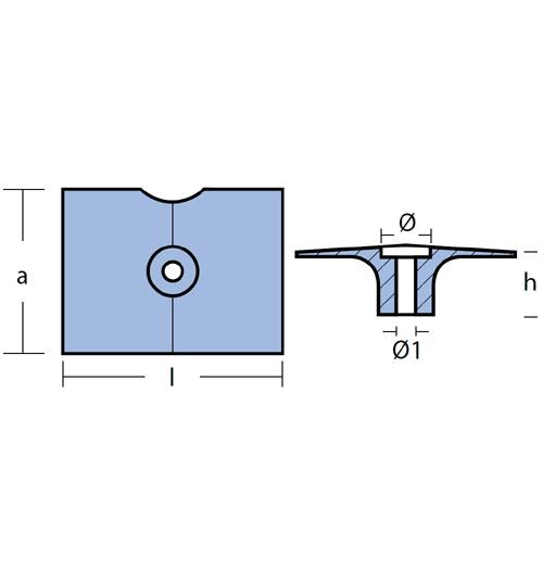 Tecnoseal Plattenanode für diverse Yamaha 9,9 - 30 PS, F9,9 - F25, Magnesium