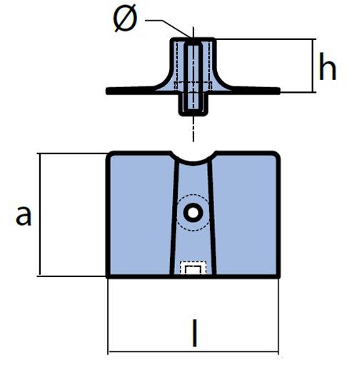 Tecnoseal Plattenanode für diverse Yamaha, F15 - F20, Magnesium