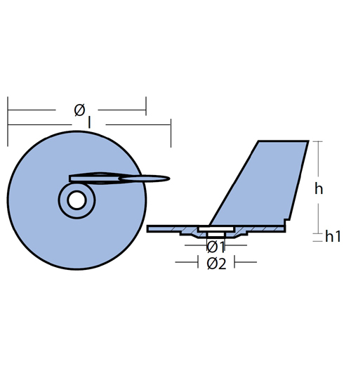 Tecnoseal Finnenanode für Suzuki, DF25 - DF30, DT20 - DT35, Zink