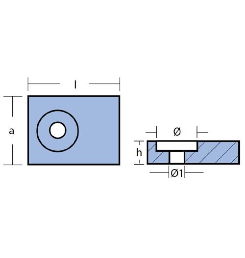 Tecnoseal Blockanode für Suzuki DF 9.9 - DF 300, DT 9.9 - 200, Evinrude/Johnson 40 - 50 PS 4-Takt, Magnesium