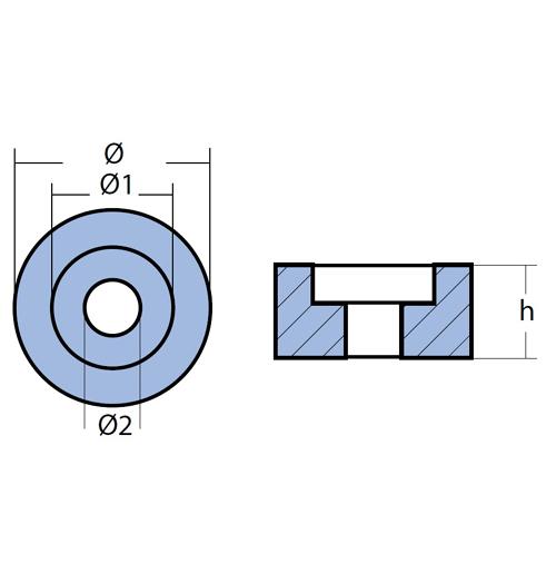 Tecnoseal Ringanode für diverse Suzuki, diverse Evinrude/Johnson, Magnesium