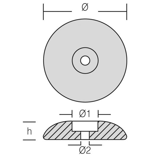 Opferanode rund für Ruderblätter und Trimmklappen, Ø 70 mm, Magnesium