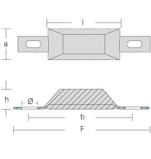 Opferanode Trapezform, zur Anbringung am Rumpf, Länge 130 mm