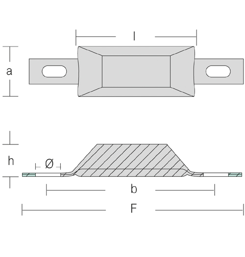Opferanode Trapezform, zur Anbringung am Rumpf, Länge 105 mm
