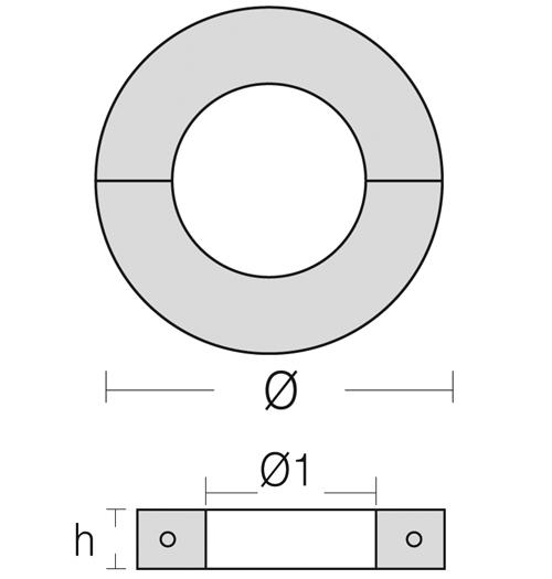 Opferanode Ringform, zur Anbringung an der Welle, Wellen-Ø 35 mm