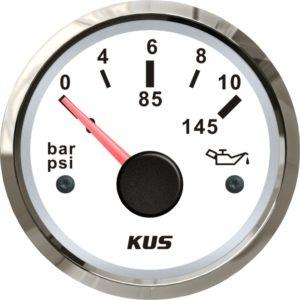 KUS Öldruckanzeige weiß mit Edelstahlring 10-184 Ohm