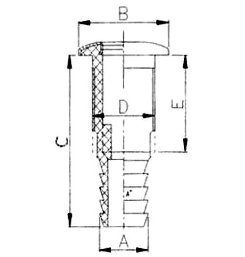 """Borddurchlass schwarz, mit 1-1/8""""-Schlauchanschluss und Edelstahl-Abdeckung"""