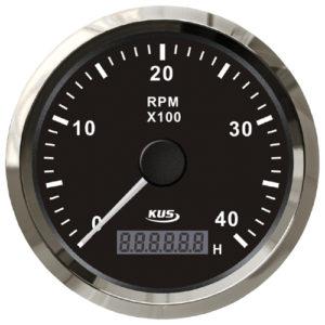 KUS Drehzahlmesser bis 4000 U/Min., mit digitalem Betriebsstundenzähler, schwarz mit Edelstahlring, für Dieselmotoren
