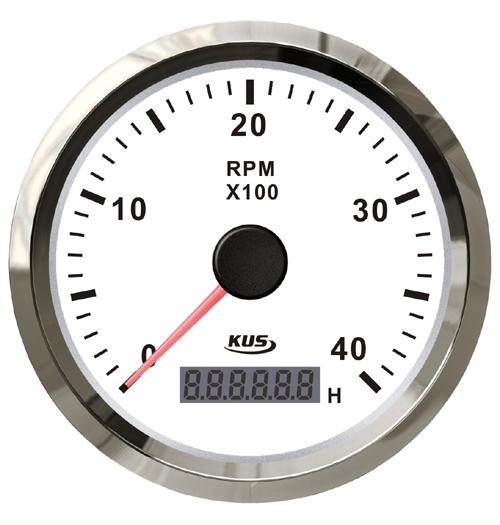 KUS Drehzahlmesser bis 4000 U/Min., mit digitalem Betriebsstundenzähler, weiß mit Edelstahlring, für Dieselmotoren