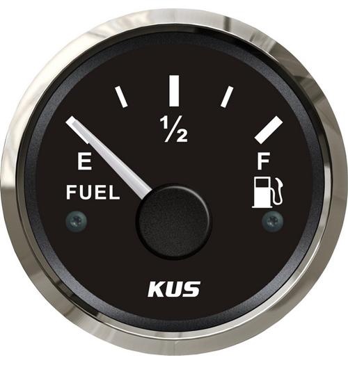 KUS Kraftstofftankanzeige schwarz mit Edelstahlring, 240 - 33 Ohm