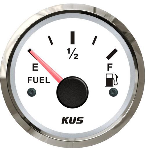 KUS Kraftstofftankanzeige weiß mit Edelstahlring, 240 - 33 Ohm