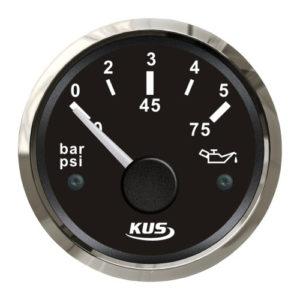 KUS Öldruckanzeige schwarz mit Edelstahlring 240 - 33,5 Ohm