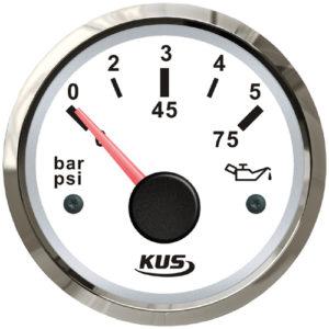 KUS Öldruckanzeige weiß mit Edelstahlring 240 - 33,5 Ohm