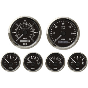 6-tlg. Instrumentenset von KUS, US-Norm, analog, schwarz, bis 6000 U/Min.