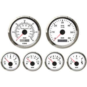 6-tlg. Instrumentenset von KUS, US-Norm, analog, weiß, bis 6000 U/Min.