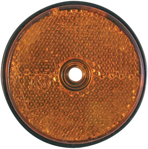 Rückstrahler orange, rund, 60 mm Durchmesser, zum Schrauben und Kleben